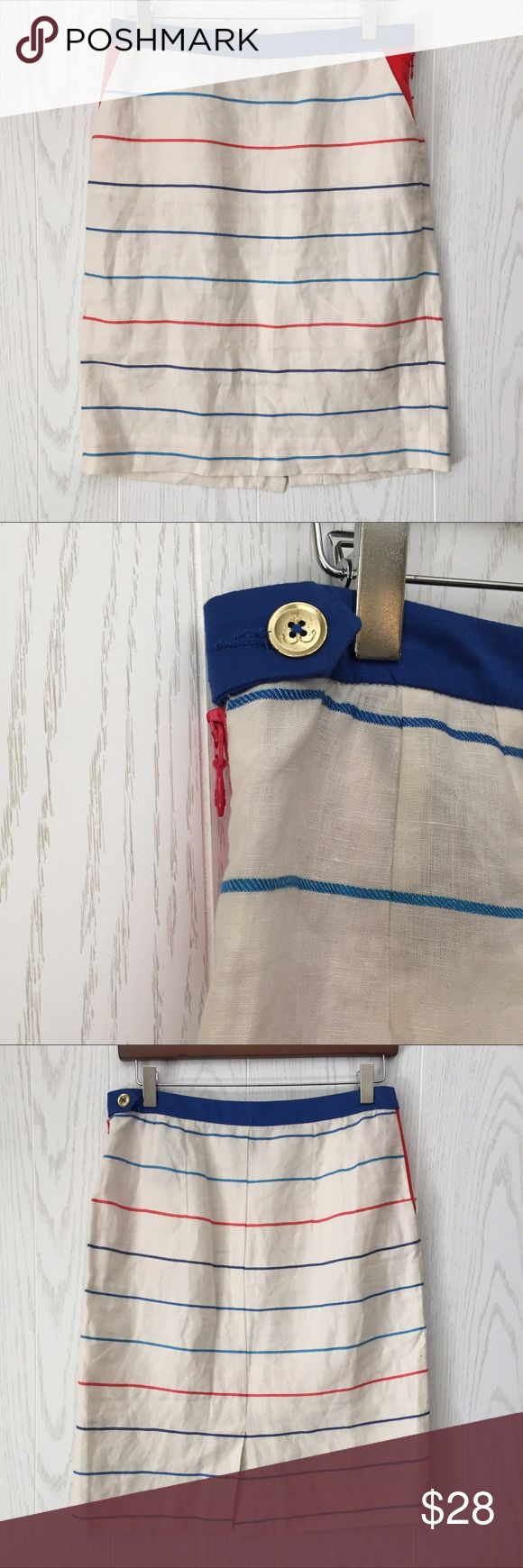 """Tommy Hilfiger Linen Blend Striped Skirt Tommy Hilfiger Linen Blend Striped Skirt • white with blue and red detail stripes • side pockets and side zip • gold anchor ⚓️ button closure detail • Linen and viscose blend • *unlined • 15"""" waist • 22"""" length • VGUC 😊 Tommy Hilfiger Skirts Midi"""