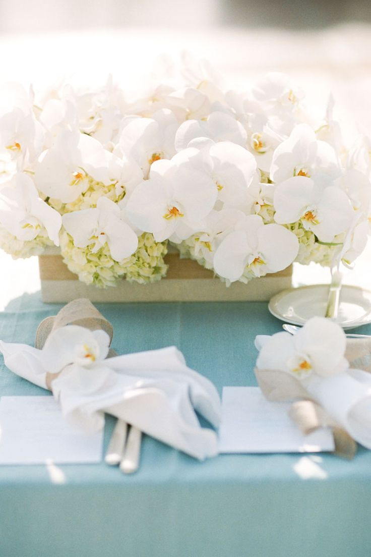 Beach orchid hydrangea centerpiece wedding and