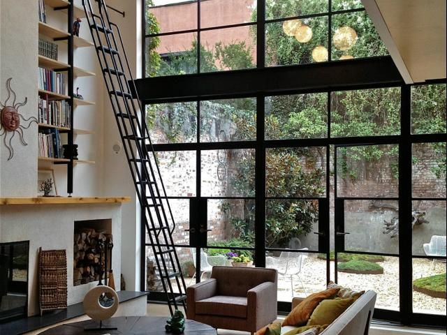 Wall of windows - Brooklyn Townhouse, Robert Kahn Architect