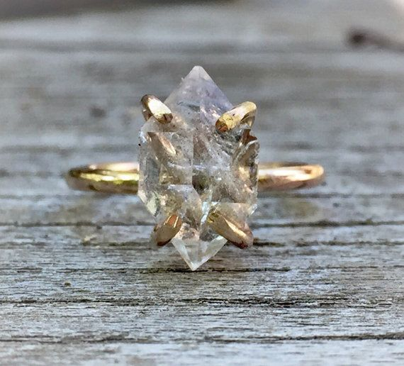 Diamond crystal point ring Herkimer Diamond Ring 14k gold or