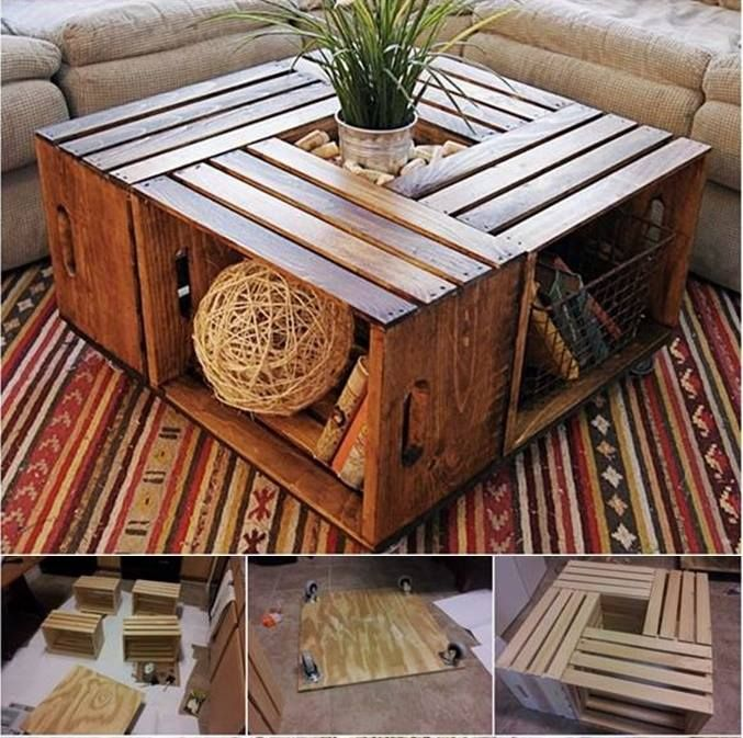 Make a Coffee Table from Recycled Wine Crates --> http://wonderfuldiy.com/wonderful-diy-coffee-table-from-recycled-wine-crates/ #diy #coffeetable #furniture