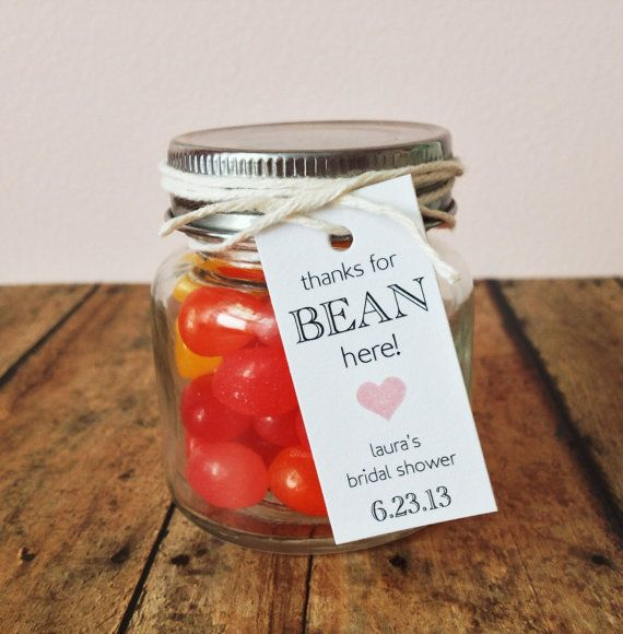 Bridal shower favor tags  bean tags  thank you by PrintSmitten, $12.00- JARS OF CANDY FOR FAVORS
