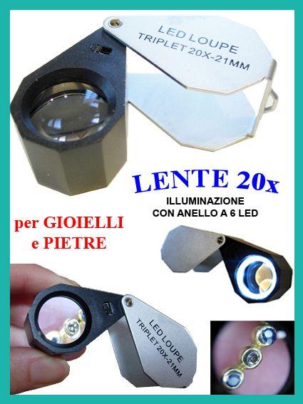 Lente tripletto 10x con luce led anulare. ottima per minerali, pietre preziose, oggetti preziosi e numismatica.