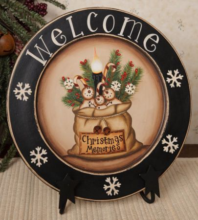 Christmas Memories Wooden Plate-decorative plates seasonal snowmen primitive snowmen & 74 best Painted Wooden Plates images on Pinterest | Primitive plates ...