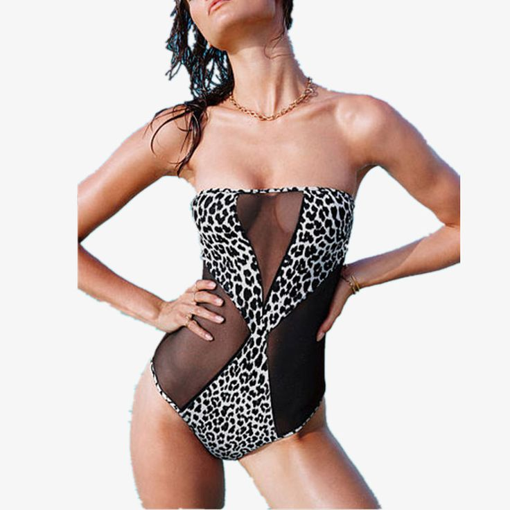 2016 Sexy Vintage Girl Sexy Push Up Leopard Bikini Monokini Swimsuit Bathing Suit High Waist Bra Swimwear Maillot De Bain Femme