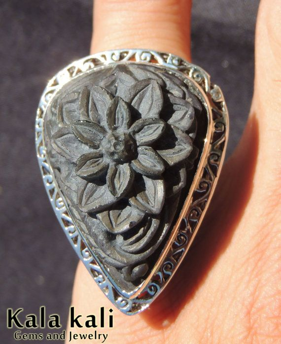 Large Rainbow Obsidian Ring Hand Carved Flower ring by KalaKali