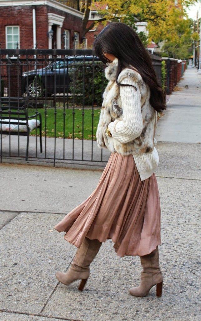 Abby from A La Modesty wearing Sweater: H&M, Skirt: Zara, Vest: Adrienne Landau, Boots: Nine West, Sunnies: Dolce & Gabbana. #Fashion #Fur #Colors