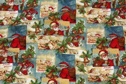 Bawełna świąteczna retro pocztówka