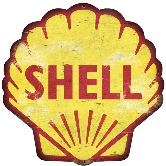 Retro Shell Gas Station Metal Sign 28 x 28 Inches