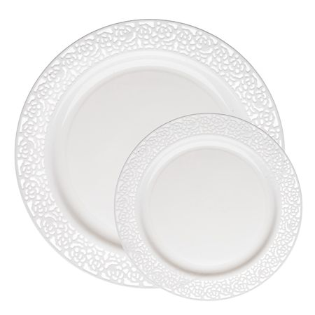 Lace White Plastic Dinnerware Value Pack by SmartyAHadAParty.com!