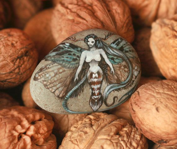 Stone with a hand-painted witch with moth wingspaper by SkadiaArt