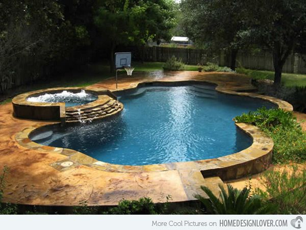 15 Fabulous Swimming Pool with Spa Designs...Liking the decking of this pool!