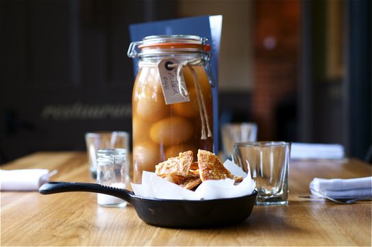 Gourmet pickled eggs and pork scratchings by the British Larder