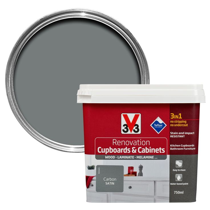 V33 Renovation Carbon Smooth Satin Kitchen Cupboard & Cabinet Paint 750 ml | Departments | DIY at B&Q