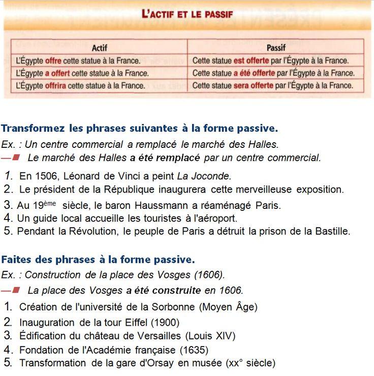 1. La Joconde a été peinte par Léonard de Vinci en 1506.Cette merveilleuse exposition sera inaugurée par le président de la République. Paris a été réaménagé au 19s.  par le baron Haussmann. Les touristes sont accueillis à l'aéroport par un guide local. La prison de la Bastille a été détruite par le peuple de Paris pendant la Révolution. 2. L'université de la Sorbonne a été créée au Moyen âge. La tour Eiffel a été inaugurée en 1900.Le château de Versailles a été édifié par le roi Louis XIV.