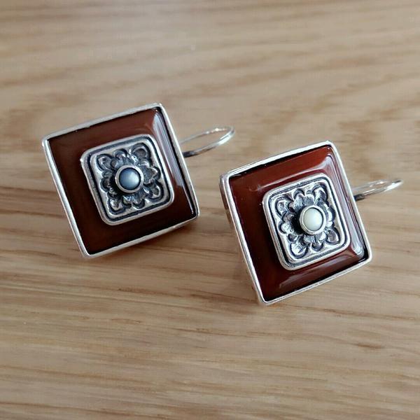 Earthflower Carnelian and Ivory Silver Earrings
