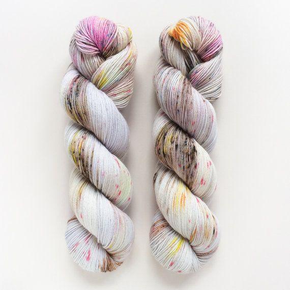 Gray Garden Hand Dyed Yarn Fingering Weight Sock by DruzyRising