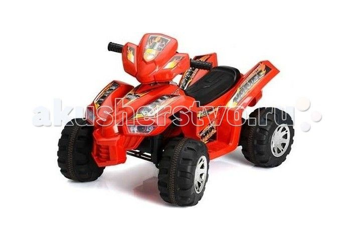 Электромобиль TjaGo Sport-JC  Электромобиль TjaGo Sport-JC - детский квадроцикл на аккумуляторе HD8068. Для детей от 3-х до 7 лет.   Характеристики: предназначен для детей от 3-х до 7 лет скорость: 3.5-4.5 км/ч аккумулятор: 6V7AHх2, 2 двигателя 1 посадочное место колеса пластик и резина газ и тормоз совмещены в одной педали (нажатие-газ, отпускание педали - тормоз) яркий дизайн максимальная нагрузка: 30 кг  В комплекте: аккумулятор зарядное устройство  Размеры (дхшхв) 92x60.5x61.5 см Вес 9.8…