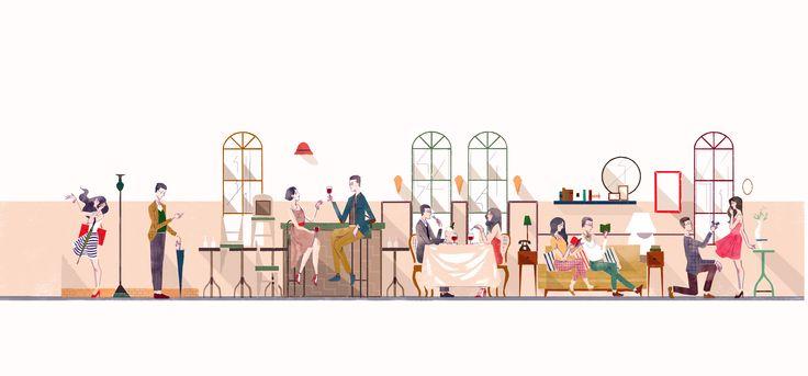 wedding timeline illustration #illustration #timeline #couple #dating #wedding illustration
