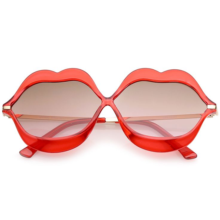 Oversize Transparent Lip Shape Frame Metal Temples Gradient Lens Novelty Sunglasses 63mm