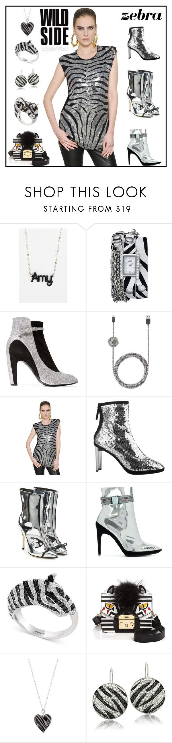 """Madagascar Zebra Marty"" by yours-styling-best-friend ❤ liked on Polyvore featuring beauty, Moon and Lola, XOXO, Maison Margiela, Native Union, Balmain, Giuseppe Zanotti, Marco de Vincenzo, Off-White and Effy Jewelry"