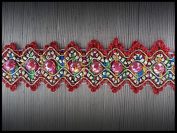 Galon multicolore, demi perles irisées 5 cm - mercerie - couture - embellissement - customisation - costume vénitien.