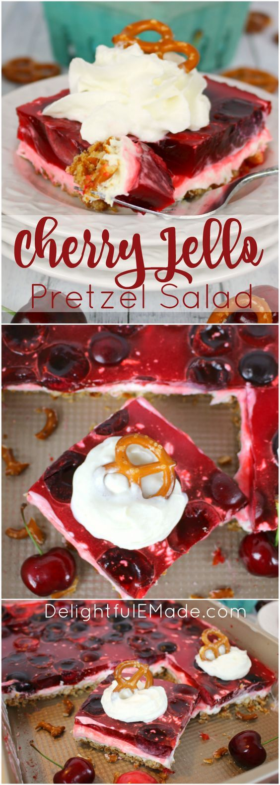 Amazing as a salad or dessert, this incredible Cherry Jello Pretzel Salad is the ultimate side dish for any cookout, potluck or backyard barbecue!  Made with a salty-sweet pretzel crust, a delicious cream cheese filling, and topped with fresh cherries in jello, this salad is a must for any summer get-together.  Even better than the strawberry version!