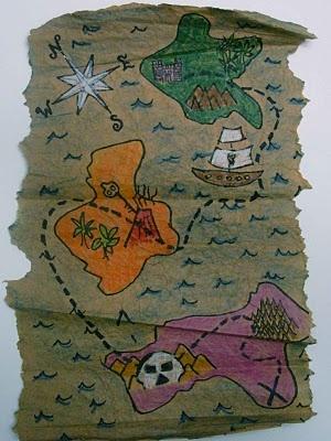 Treasure map art lesson! Create map for land bridge using map directions.