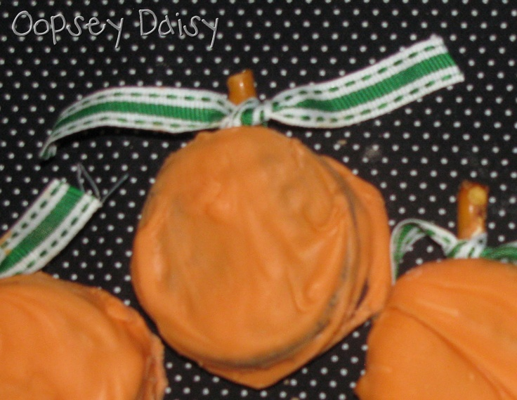 Oreo Pumpkins class treats / appetizers / snacks - chocolate dipped oreos' in orange chocolate to look like pumpkins!