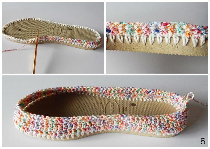 Armarinho São José: Alpargatas de crochê com a linha Caribe
