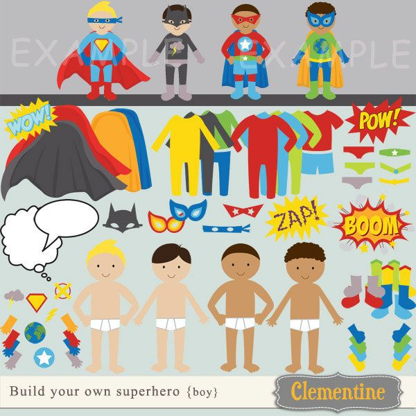 """build your own superhero"" digital clip art/paper dolls--printable, $7.00, via Etsy."