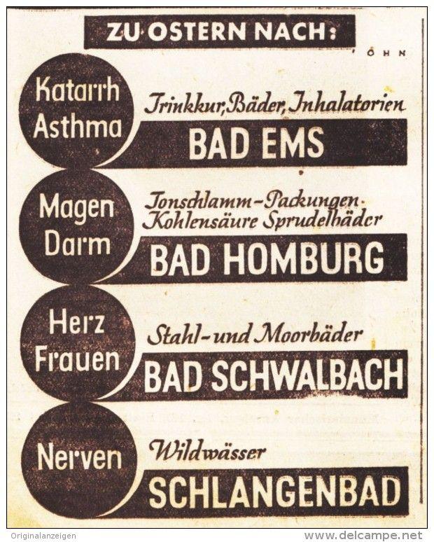 Original-Werbung/ Anzeige 1936 - BAD EMS / BAD HOMBURG / BAD SCHWALBACH…