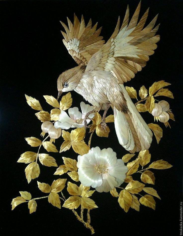 """Купить Экопанно """" За шиповником"""" - панно, картина, солома, Соломка, экопанно, птица, шиповник"""