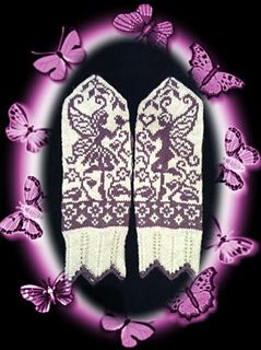 Garden Fairys mittens Charts for adult and childrens size mittens