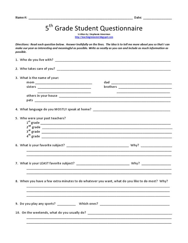 Best  Student Questionnaire Ideas On   Interest
