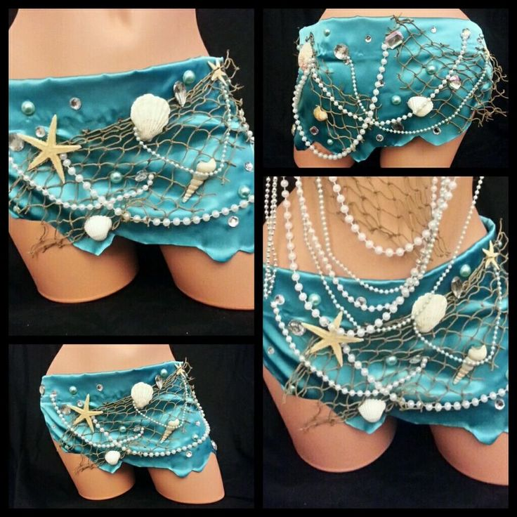 Sexy Blue Mermaid Seashell Skirt Rave Bra Rave Outfit EDC Clubwear Women