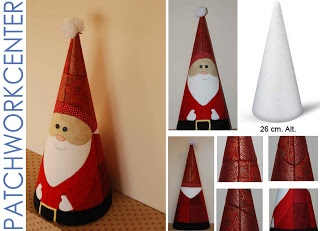 Papá Noel cónico con la ténica de patchwork sin agujas