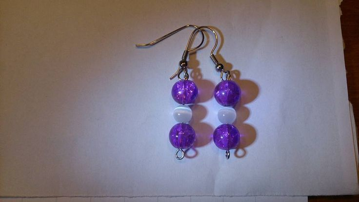 Purple white cat eye earrings