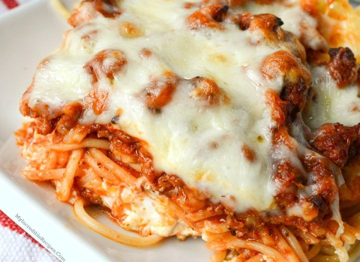 Million Dollar Spaghetti!-I will omit meat and use my usual sauce (don't like meat in spaghetti), looks delish though-Rachelle