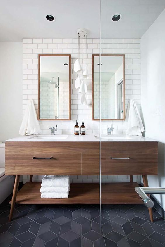 Mid Century Modern Bathroom Design Inspo The Best Affordable Black Accessories Kristina Lynne