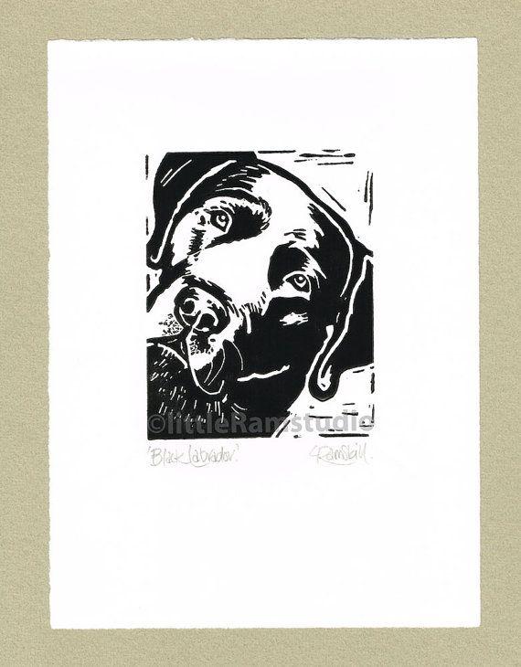 Black Labrador Dog Art Print - Labrador Dog Linocut Original Print