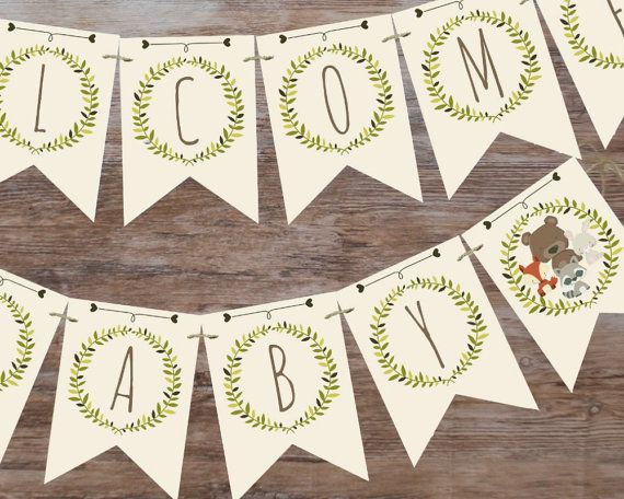 Woodland baby shower banner, welcome baby banner, printable banner, woodland…