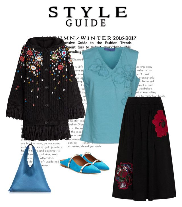 """""""Not so Boring - Style!"""" by dlittlejohn on Polyvore featuring Blue Les Copains, RED Valentino, Emporio Armani, Malone Souliers, MM6 Maison Margiela, skirt, bag and jacket"""