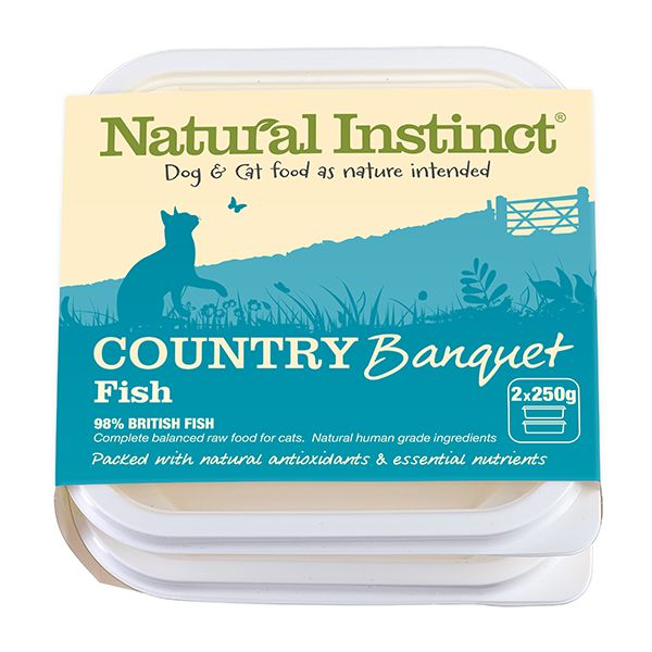 Country Banquet Cat Food - Fish: specifically designed to add variety to your cat's diet, packed with natural antioxidants and essential nutrients. 2x250g, £3.75 (min 5kg/order). British white fish (43.5%), British Salmon (40%), British Herring (15%), dicalcium phosphate, sea kelp, calcium carbonate, wheatgrass, barley grass, Spirulina, thyme, bilberry, Brewer's yeast, taurine. | Natural Instinct
