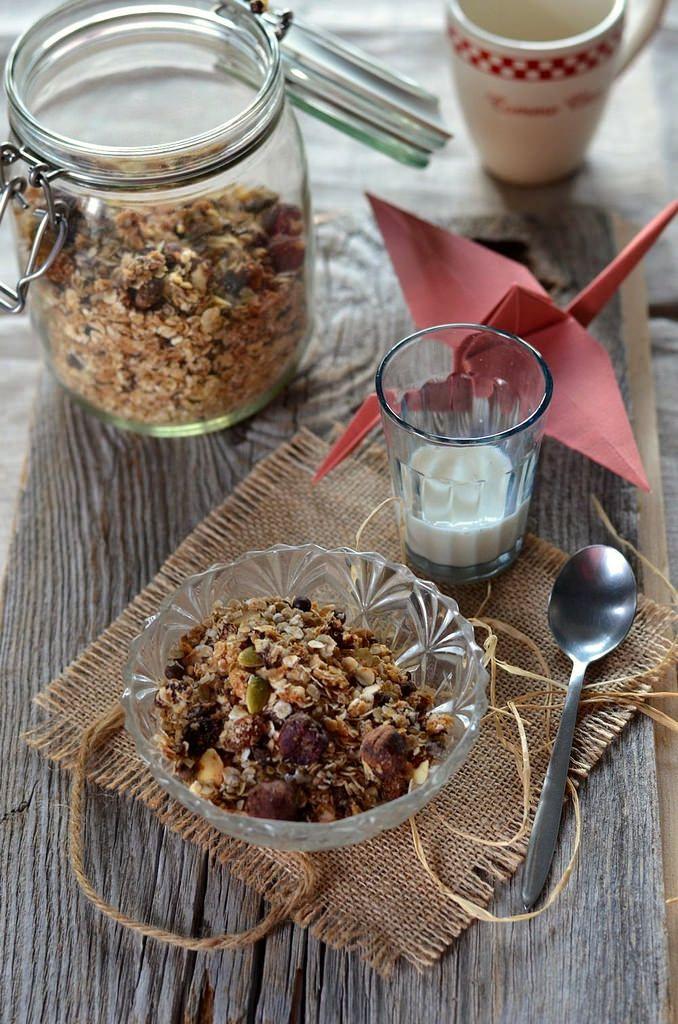 Ça fait longtemps que je voulais tester le granola et pour cette 1ère je me suis lancée dans un granola maison au chocolat et noix de coco.