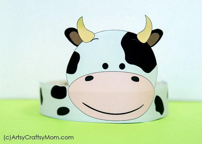picture regarding Printable Cow Hat known as 12 Lovable Social gathering Animal Printable Hats for a Jungle Bash