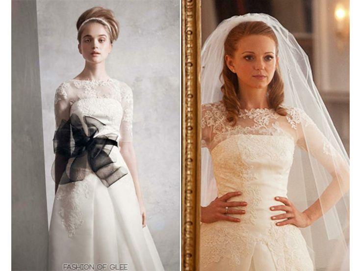 Glee Emma Pillsbury Satin Illusion Neck Line Wedding Gown