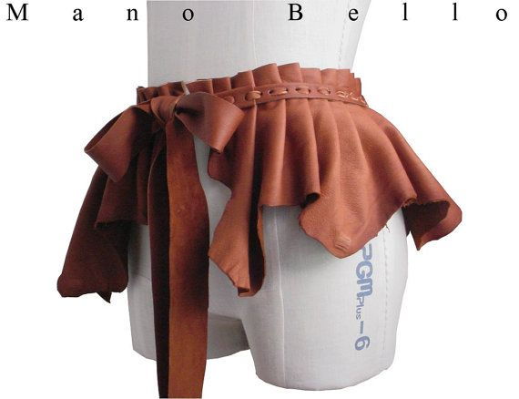 Laced Leather Bustle Skirt Belt Ruffled Pleated Peplum Belt Tobacco Brown, Steampunk Leather, only one Small Medium