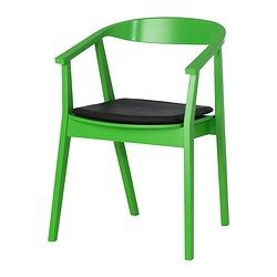 "STOCKHOLM chair with chair pad, dark brown, green Width: 24 3/4 "" Depth: 26 3/8 "" Height: 38 1/4 "" Width: 63 cm Depth: 67 cm Height: 97 cm"