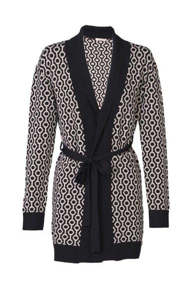 Chaqueta de dibujo geométrico en blanco y negro de Eleonora Amadei #jersey #cardigan #print #moda #fashion